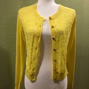 F21 yellow lace cardigan size S
